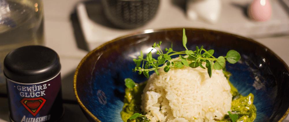 rezept für Reis mit Spinat-Sahne-Soße