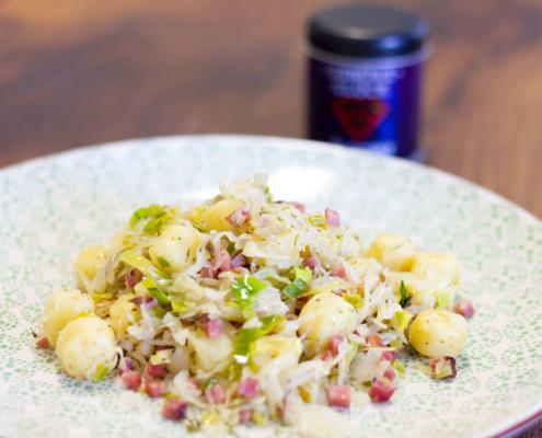 gnocchipfanne mit lauch und sauerkraut rezept